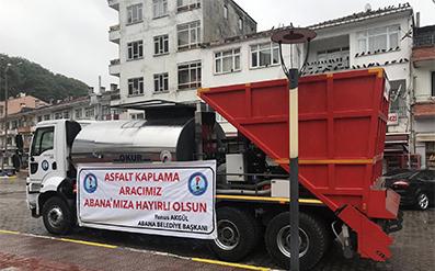 <center> Belediyeye Asfalt Serme Aracı </center><center><font color='blue'> TÜM YOLLAR YENiLENECEK </font></center>
