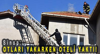 <center> Sinop: </center><center><font color='blue'> OTLARI YAKARKEN OTELİ YAKTI! </font></center>